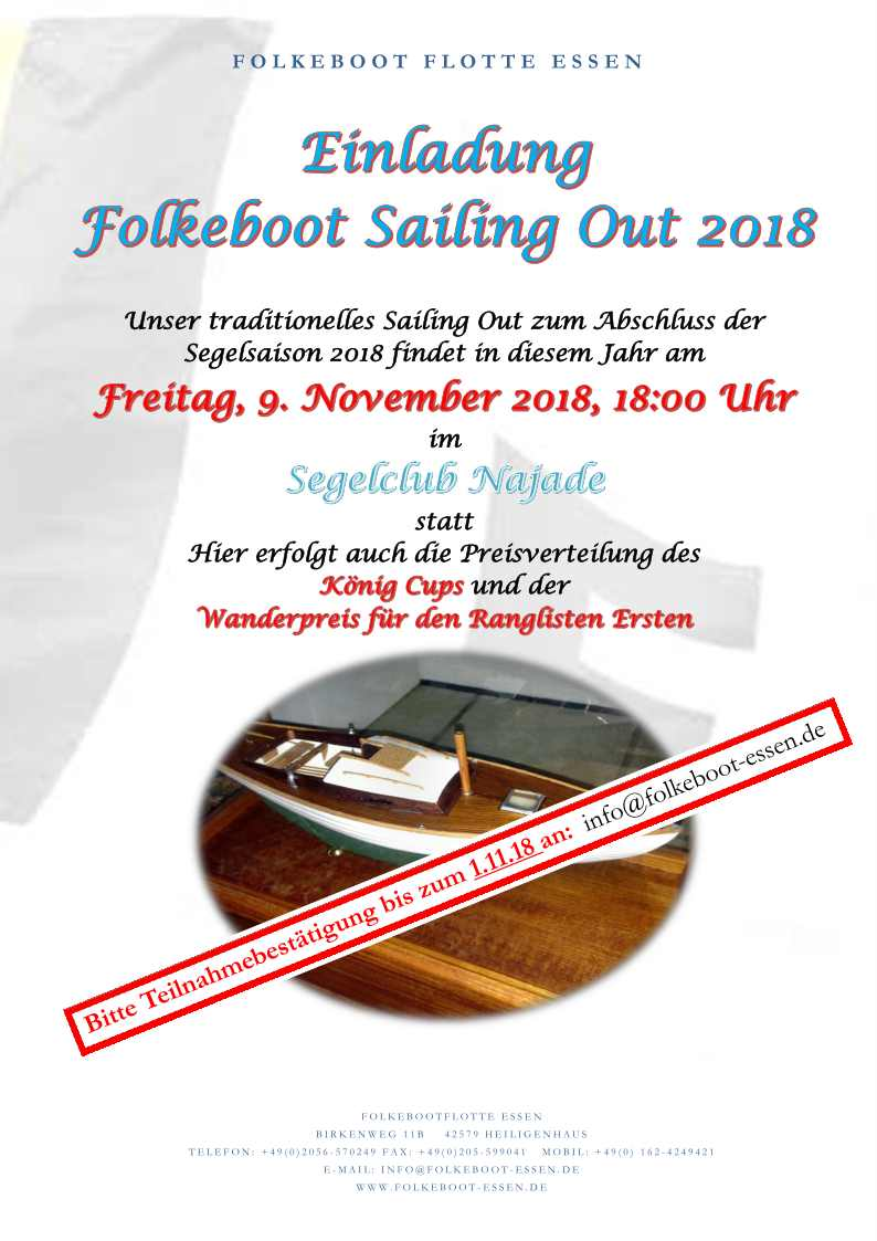 Einladung Sailing Out 2018